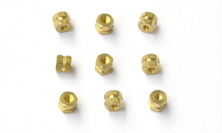 定做六角盲孔非标铜件-铜嵌件
